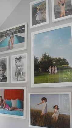 Photo display inspiration - no mats, simple thin white frames, large color images mixed with b