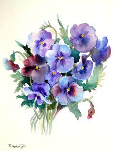 Pansies original watercolor painting