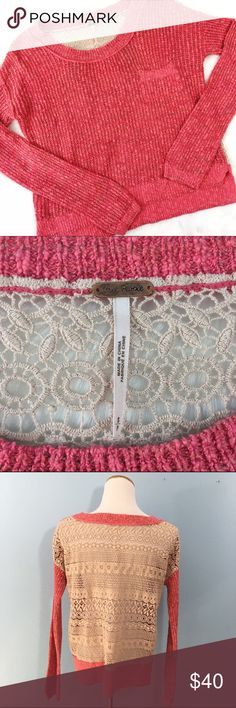 "Free People Coral Loose Knit Lace Back Sweater Lightweight, perfect for layering with your favorite bra or a tank. Boho style, very good condition; been gently loved! Bust: 20"", Length 22"" (front)/24"" (back). Oversized fit. Free People Sweaters"