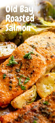 An easy oven roasted salmon recipe made with classic Old Bay seasoning! A flavorful and simple way to make the best flakey salmon dinner! #salmon #oldbay #dinnerideas