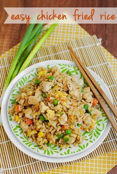 Easy Chicken Fried Rice is cheaper than take out, and much healthier too! in a little oil heat 1/2 cup frozen veggies, 2 chopped green onions, 1 minced garlic, 1 whisked egg. cook, then add 2 cups leftover rice. leftover chicken (or shrimp on hand) and 2 T soy sauce.
