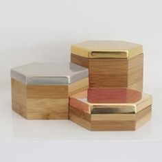 Image of Hex Boxes Mirror Set: Gold, Silver, Bronze Decorative Accessories, Decorative Boxes, Interior Accessories, Decorative Objects, Geometric Box, Small Storage Boxes, Bamboo Box, Funky Jewelry, Mirror Set