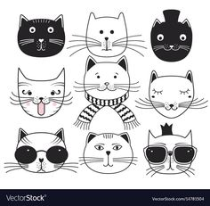 Cute cat heads vector image on VectorStock Gato Doodle, Doodle Art, Cat Drawing, Line Drawing, Animal Doodles, Cat Tattoo, Drawing Techniques, Cat Art, Animal Drawings