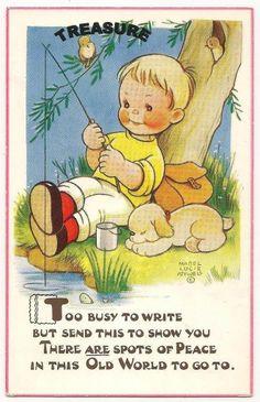 Mabel Lucie Attwell Postcard NO 6134 BOY Angling Fishing DOG   eBay
