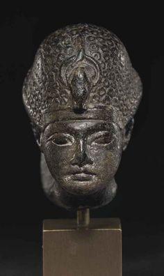Steatite portrait of a head of a pharaoh. New Kingdom. 18th dynasty. 1391-1323 B.C.   Christie's