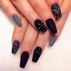 Black & Gray Nail Design w/ Studs