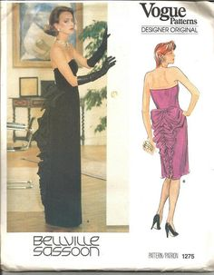 1980s Bellville Sassoon Vogue Designer Original by kinseysue evening cocktail dress strapless black pink