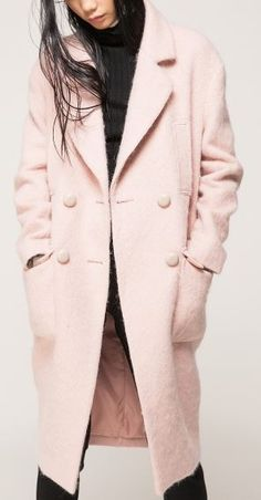 Love Pink! Super Soft Pink Mohair Longline Coat #Love_Pink #Pale #Pink #Blush #Soft #Cozy #Mohair #Longline #Couture  #Coat  #Winter #Fashion