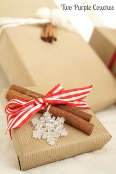 Festive DIY Cinnamon Stick Gift Toppers for dressing up Christmas presents.