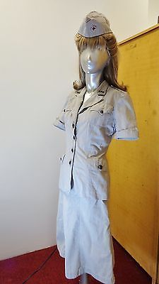 WW2 AMERICAN RED CROSS MILITARY WELFARE SEERSUCKER SHORT SLEEVED UNIFORM NAMED
