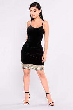 Indescribable Feeling Velvet Dress - Black