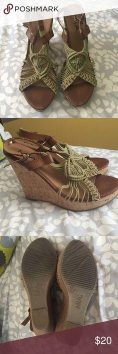 Mia Wedges boho festival style sandal Size 9. Worn once very briefly just around the house, not outside. Basically new. High wedge heel. Mia Shoes Wedges