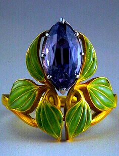 Lalique - 1903 Ring: gold/ enamel/ amethyst