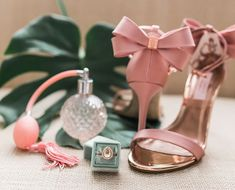 24 Winter Wedding Color Palettes for a Festive Celebration - Theres more to winter wedding colors than just red and green! See for yourself with these gorgeous ideas. pink bow wedding shoes and green velvet ring box {Aurora Photography}