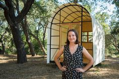 Mattie Shelton in front of her Conestoga Hut, photo by Nell Campbell. Read about this new venture in the fall issue of Santa Barbara Seasons. http://sbseasons.com/2016/09/matties-huts/ #sbseasons #sb #santabarbara #SBSeasonsMagazine #MattieShelton #NellCampbell #SheltonHuts To subscribe visit sbseasons.com/subscribe.html