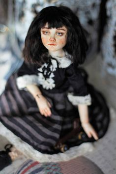 Art doll collectible BJD doll ball joined doll OOAK by EllDolls Toy Dachshund, Girl Standing, Great Love, Ooak Dolls, Wigs, Goth, Black And White, Vintage, Collection