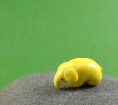 Little Lemon Elephant - Hand Sculpted Miniature Polymer Clay Animal. $15.00, via Etsy.