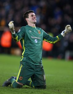 Eldin Jakupovic of Hull City celebrates his side second goal during the Premier League match between Hull City and Liverpool at KCOM Stadium on February 4, 2017 in Hull, England.