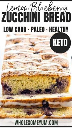 Low Carb Lemon Blueberry Zucchini Bread Recipe With Almond Flour – This healthy lemon blueberry zucchini bread recipe is easy to make with 15 minutes prep. A delicious low carb zucchini bread that's gluten-free, sugar-free, and paleo! Low Carb Zucchini Bread, Keto Banana Bread, Zucchini Bread Recipes, Blueberry Bread, Recipe Zucchini, Blueberry Zucchini Bread Healthy, Easy Keto Bread Recipe, Lowest Carb Bread Recipe, Easy Cake Recipes