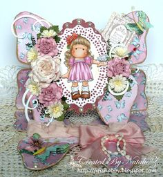 Tilda with Hawaiian Flower, Butterfly wishes collection, Magnolia stamps