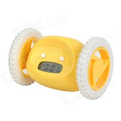 "Color: Yellow; Brand: N/A; Model: BF1818; Material: Silicone + ABS; Quantity: 1 Piece; Voice Decibels: 80dB; Screen Type: Others,3-second blue backlit digits display; Battery included or not: No; Power Supply: AAA; Battery Number: 4; Other Features: 1.7"" display screen; With snooze function; Alarm clock fully mounted on two working wheels; With scrolling and rotating function; Time format: 12 hours; Packing List: 1 x Alarm clock1 x Chinese/English user manual; http://j.mp/1ljThPu"