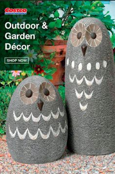 Garden Fence Art, Garden Owl, Garden Statues, Garden Crafts, Yard Art Crafts, Garden Beds, Cement Crafts, Stone Crafts, Rock Crafts