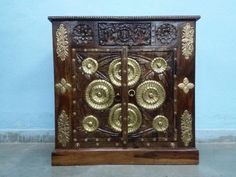 For Sale Brass Fitted Side Cabinet For More Information Please Visit http://usedfurnitures.in/product/solid-brass-fitted-chest-2033 or www.usedfurnitures.in or Call: 8826755599