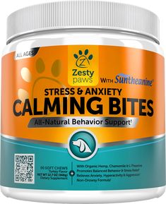 Help calm and soothe your pal naturally with the Zesty Paws Stress & Anxiety Calming Bites with Suntheanine Dog Supplement. These tasty chews are flavored with real turkey and formulated with a special blend of all-natural ingredients proven to help dogs feel calm with no drowsiness or drugs. It contains Suntheanine, a pure form of the amino acid L-theanine that supports stress-free relaxation, along with a special blend of calming nutrients and plants including vitamin B1, organic hemp a...