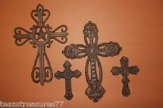 (4) High Meadow Collection, Crosses, Cast Iron, Crafts, Christianity, Collage
