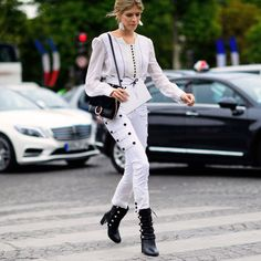 Loving the all-white with black button accents on Lena Permanova