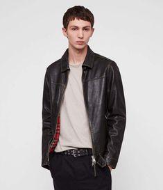 a610b3ad358 AllSaints Caleb Leather Jacket Harrington Jacket