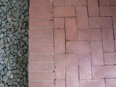 """Herringbone pattern brick paver patio with edge and gravel.  Apparently, typical of classic """"Haver"""" homes in Phoenix, AZ - no wonder I like it!"""