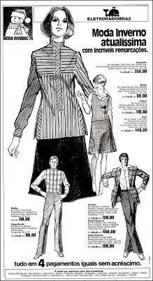 Anúncio moda inverno - Eletroradiobraz - 1976