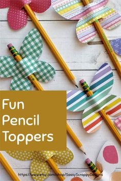 Kids will love these pencil toppers! Perfect as a party favor, since some can be used as a straw topper too! Fun Printables For Kids, Fun Crafts For Kids, Arts And Crafts, Paper Crafts, Handmade Gift Tags, Handmade Shop, Greeting Cards Handmade, Handmade Items, Pencil Toppers