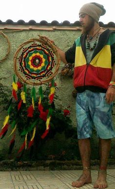 rasta dreamcatcher... not a rasta person but damn that is an impressive dream catcher