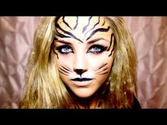 We've got 55 Halloween makeup ideas to take your spooky look to the next level. So, grab your favorite Halloween snack and a drink, and take a gander at our favorite makeup looks that will go with just about any Halloween costume you could think of. Zebra Makeup, Tiger Makeup, Animal Makeup, Eye Makeup, Tiger Halloween, Halloween 2014, Easy Halloween, Halloween Costumes, Zebra Costume