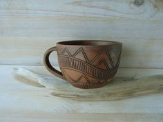 Hand Made Ceramic Eco-Friendly Tea Cup Hand Carved by warmceramics