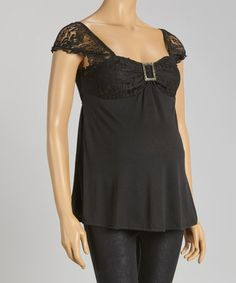 Another great find on #zulily! Black Lace Buckle Maternity Empire-Waist Top #zulilyfinds