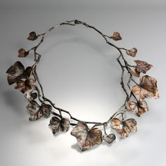 "Gabriella Kiss - Ivy Vine Necklace // This ""Ivy leaves"" necklace is meticulously crafted in sterling silver with a beautiful warm, antiqued patina. The ivy leaves are in an array of various sizes."