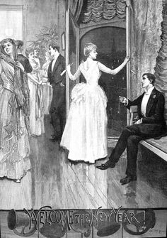 Jacomb-Hood (The Illustrated London news) 1888 George Percy, Welcome New Year, Victorian Illustration, Fine Art Prints, Framed Prints, A4 Poster, Art Reproductions, Photo Wall Art, Poster Size Prints
