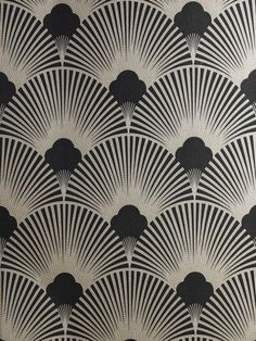 Art Deco Metallic Wallpaper Pattern | WS128 Wallpaper - Art Deco - Geometric Fan Motif - Surrey by dll426