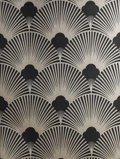 Art Deco Metallic Wallpaper Pattern   WS128 Wallpaper - Art Deco - Geometric Fan Motif - Surrey by dll426
