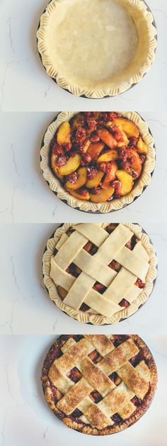 peach-raspberry pie — Milly's Kitchen Peach Raspberry Pie by millyskitchen: A delicious sweet and tart peach-raspberry pie. The perfect way to use up the rest of those sweet summer peaches. Köstliche Desserts, Delicious Desserts, Dessert Recipes, Yummy Food, Cheesecake Recipes, Peach Cheesecake, Vegan Cheesecake, Nutella Recipes, Italian Desserts