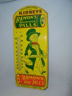 Ramon's Pills Vintage Advertising Thermometer Tin Sign Graphics Sign 213 L | eBay