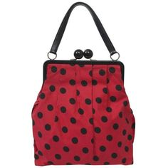Preowned Moschino Polka Dot Handbag ($485) ❤ liked on Polyvore featuring bags, handbags, clutches, red, top handle bags, hand bags, top handle handbags, leather purses, red purse and handbag purse