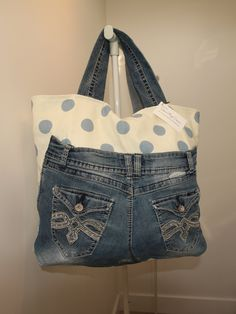 Purse Bag Tote Extra Large Original, Upcycled Jeans, for Everyday Use #H1507 by DruandMegzDesign on Etsy