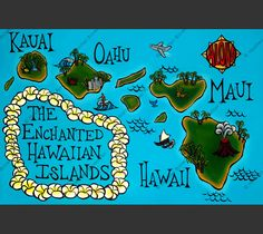 """""""The Enchanted Hawaiian Isles.Brown Does island hopping sound like a fun adventure? Heather Brown has created this intriguing map of the Enchanted Hawaiian Isles as your guide. Matted print by N Hawaii Life, Aloha Hawaii, Hawaii Vacation, Hawaii Travel, Hawaii Honeymoon, Dream Vacations, Vacation Ideas, Heather Brown Art, North Shore Oahu"""