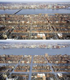 "Boston's historic Back Bay neighborhood looks like a disaster zone in Lamm's depiction. But ""these illustrations are not based off wild Hollywood scenarios,"" he emphasizes."