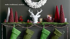 Make traditional, modern. #Holidays #Christmas I'm so in love with the faux bois deer head and the red prancing deer.  Red & white, can't go wrong!