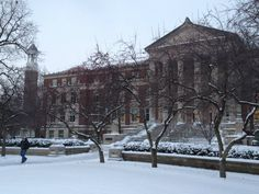 Snow on Purdue campus